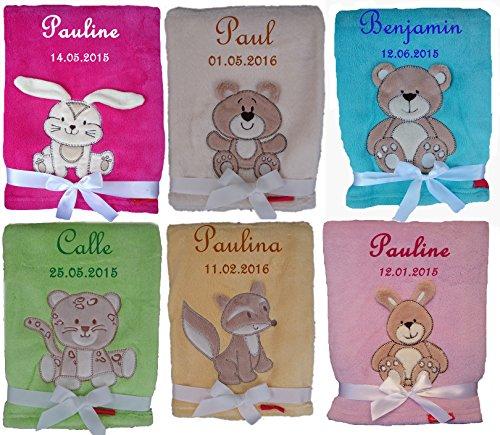 GeschenkIdeen.Haus - Kuschlige Babydecke mit Namen und Geburtstdatum bestickt