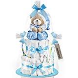 Windeltorte mit Spieluhr (2-stöckig/baby-blau) für JUNGEN
