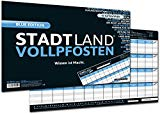 DENKRIESEN Stadt Land Vollpfosten Blue Edition - Spielblock DIN-A3 Format 50 Blatt