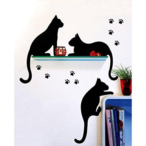 GeschenkIdeen.Haus - Wandtattoo mit 3 schwarze Katzen