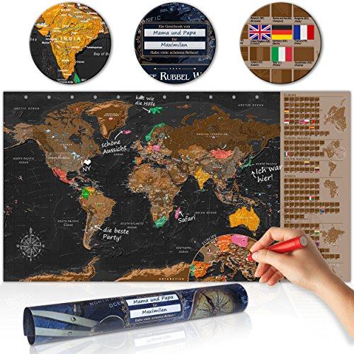 GeschenkIdeen.Haus - Rubbelweltkarte - Weltkarte zum Rubbeln mit Fahnen
