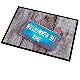 Fußmatte mit persönlichem Aufdruck - Türschild, Herz & Name