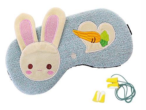GeschenkIdeen.Haus - Niedliche Hasen-Schlafmaske mit 2 Paar Ohrstöpsel für einen ruhigen Schlaf